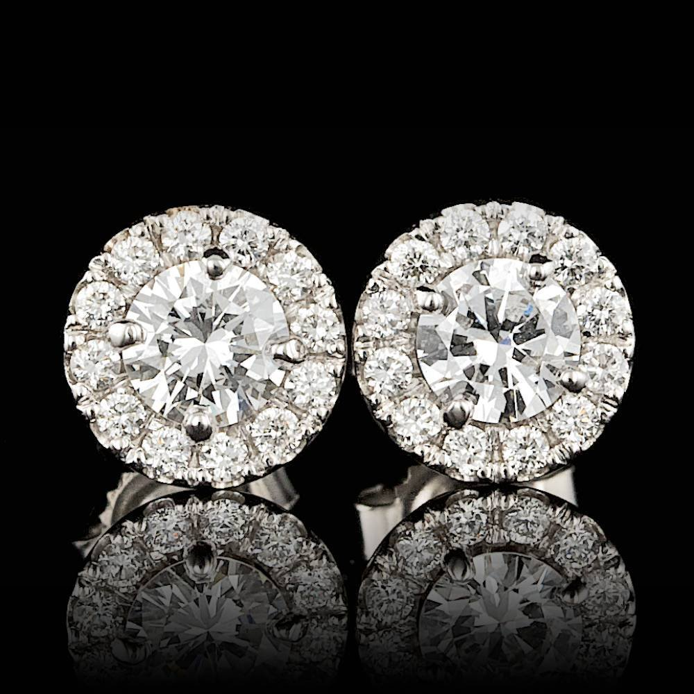 14k White Gold .95ct Diamond Earrings
