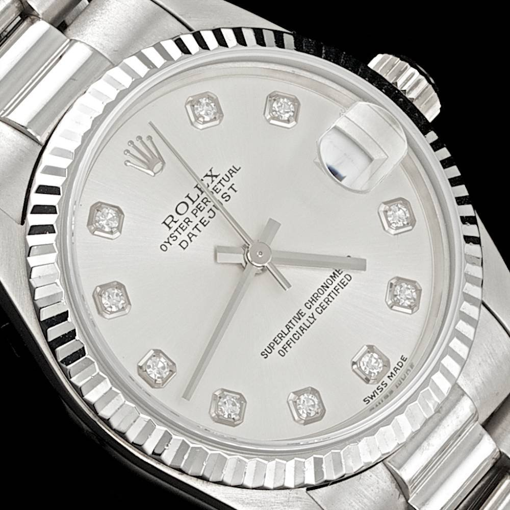 Rolex 18k White Gold F/Vvs Diamond Datejust Watch