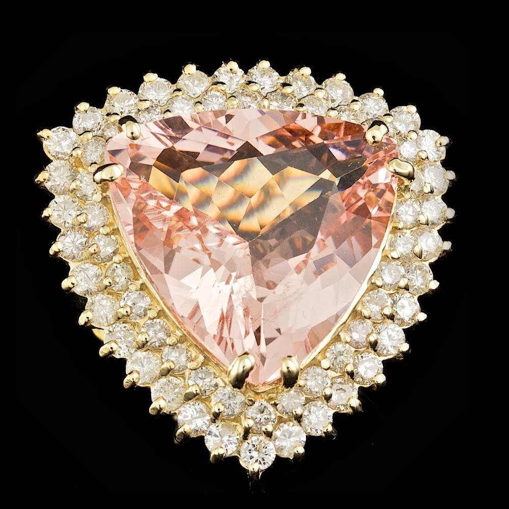 14k Gold 14.50ct Morganite 2.25ct Diamond Ring