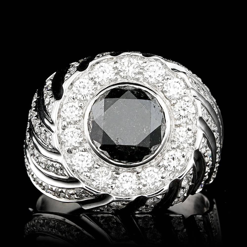 14k White Gold 6.3ct Diamond Mens Ring