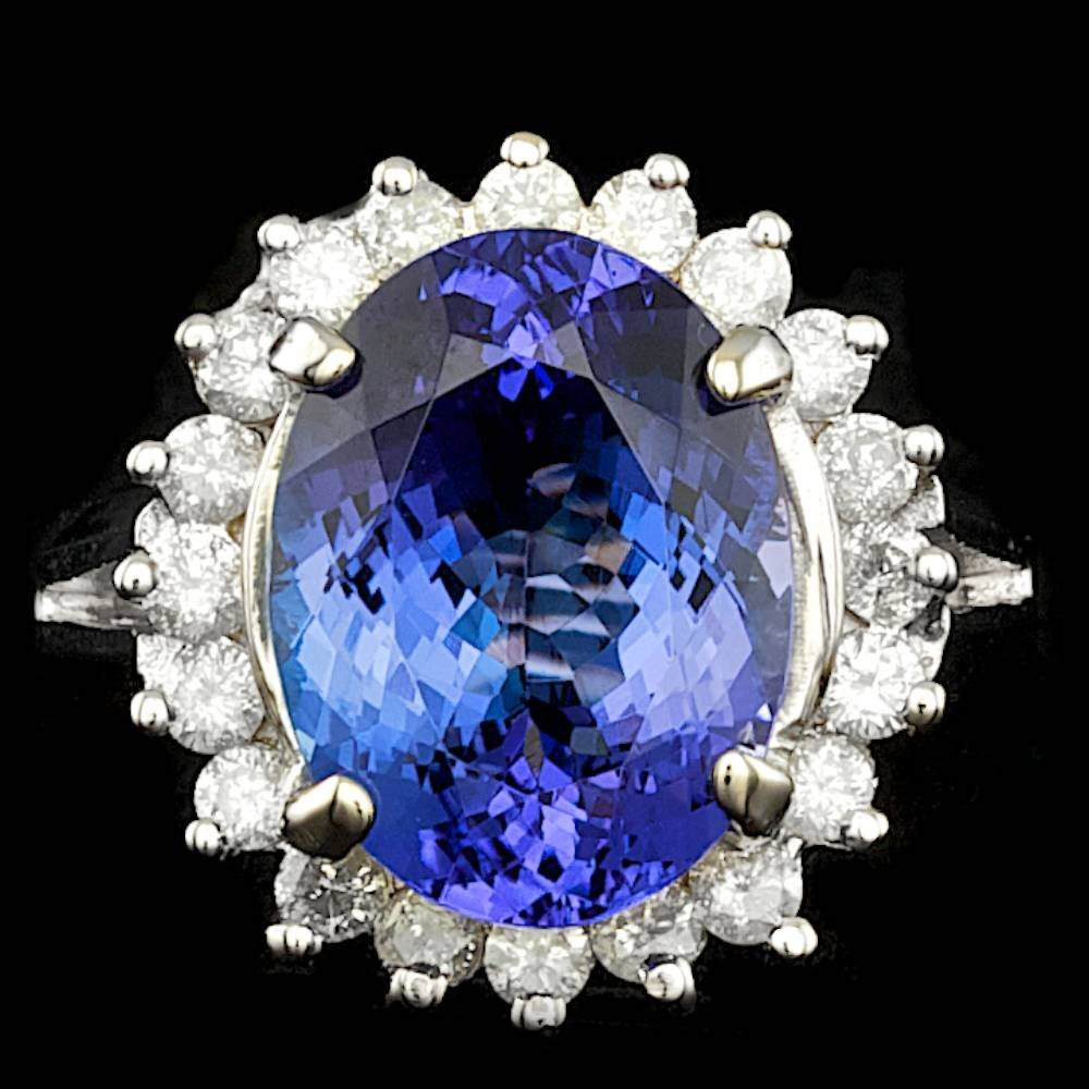 14k Gold 6.50ct Tanzanite 0.75ct Diamond Ring