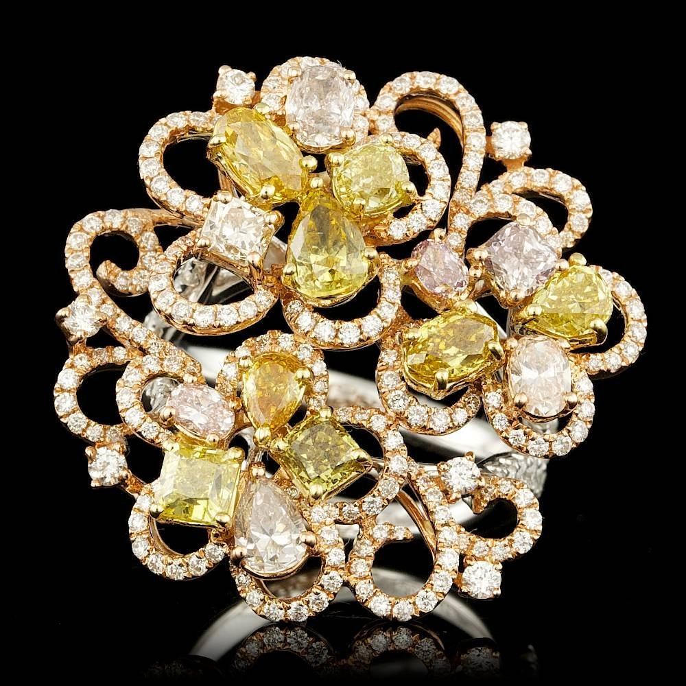 18k Multi-Tone Gold 4.82ct Diamond Ring