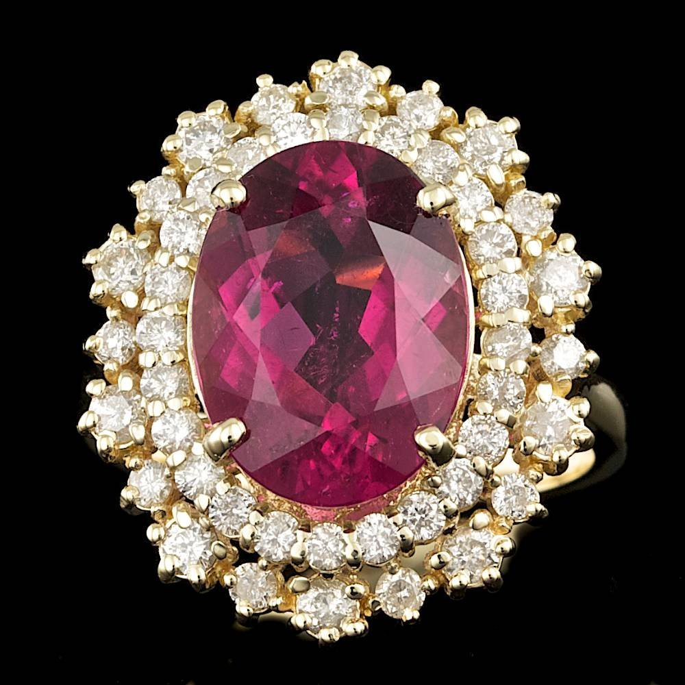 14k Gold 5.00ct Rubellite 1.10ct Diamond Ring