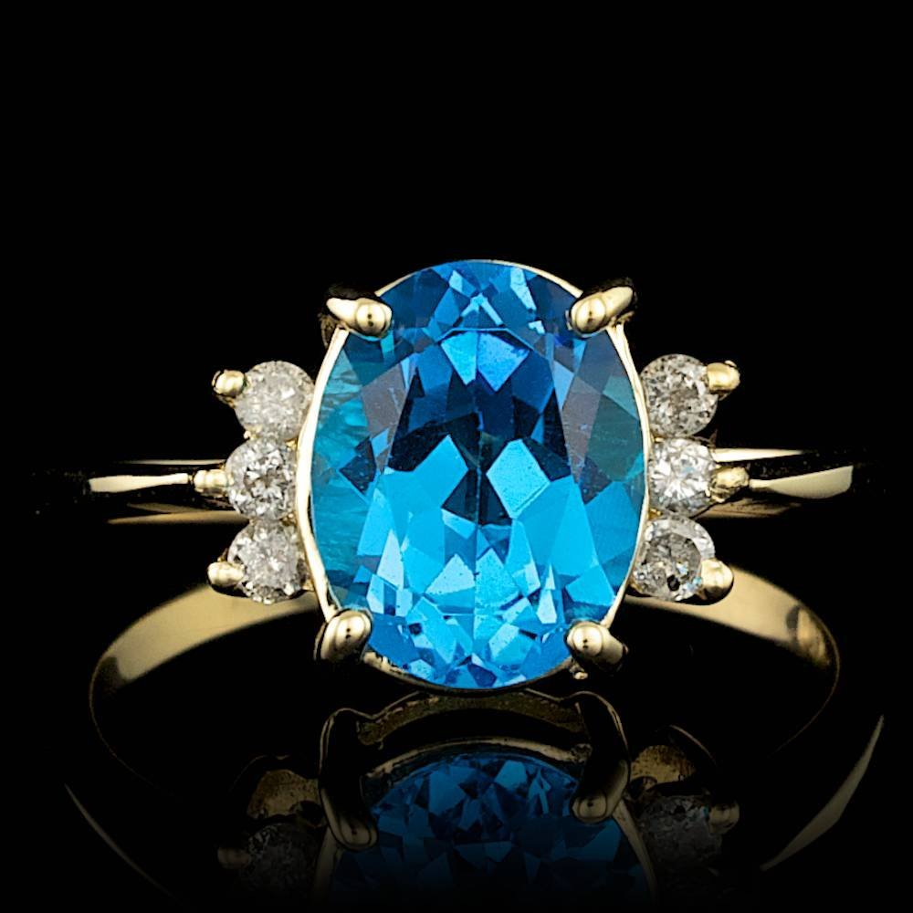 14k Yellow Gold 2.50ct Topaz 0.20ct Diamond Ring