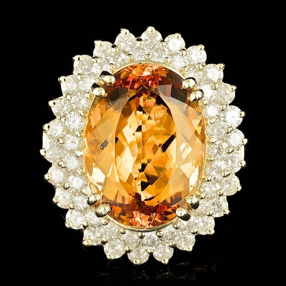 14k Gold 21ct Imperial Topaz 3ct Diamond Ring