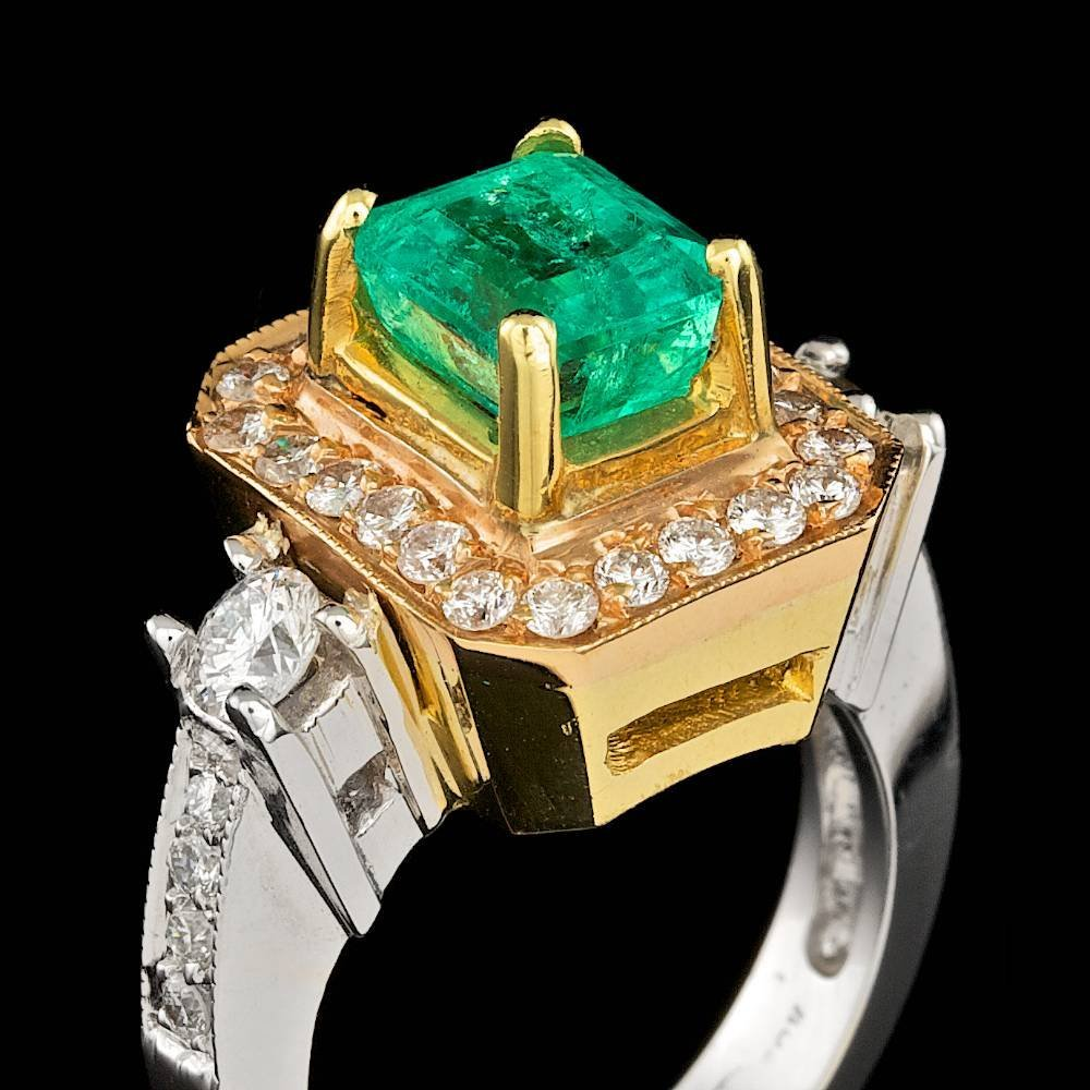 18k Gold 2.30ct Emerald 1.15ct Diamond Ring