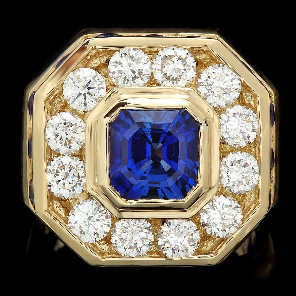 18k Gold 2.5ct Sapphire 3.20ct Diamond Mens Ring