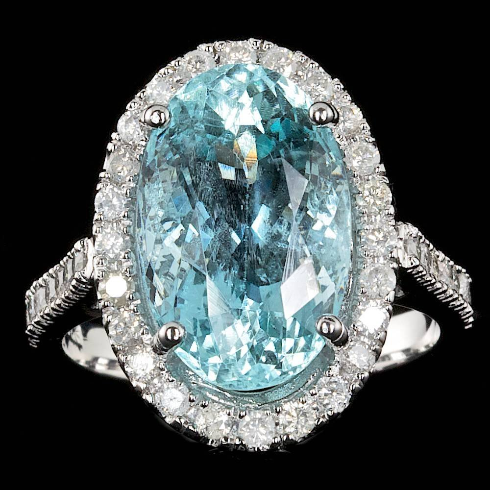 14k Gold 7.00ct Aquamarine 0.70ct Diamond Ring