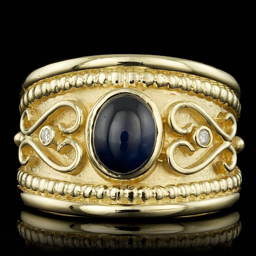 14k Gold 1.00ct Sapphire 0.04ct Diamond Ring