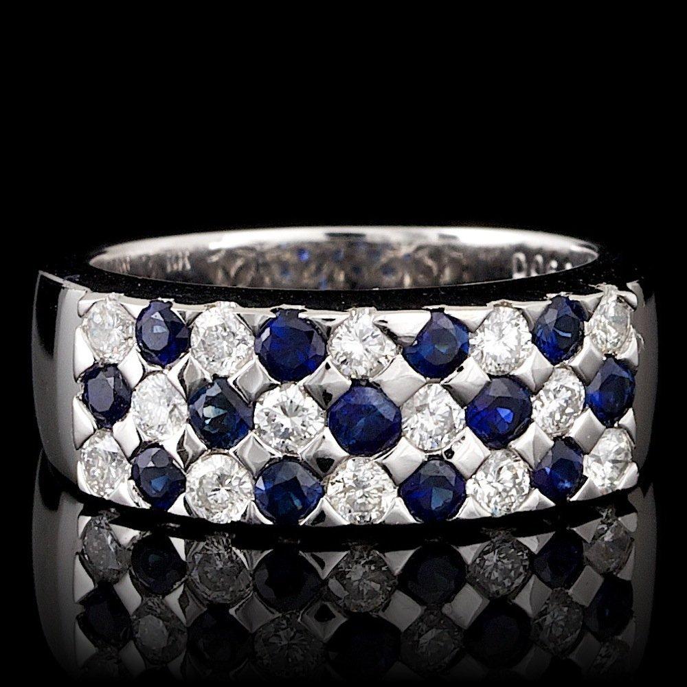 14k Gold 0.70ct Sapphire 0.60ct Diamond Ring