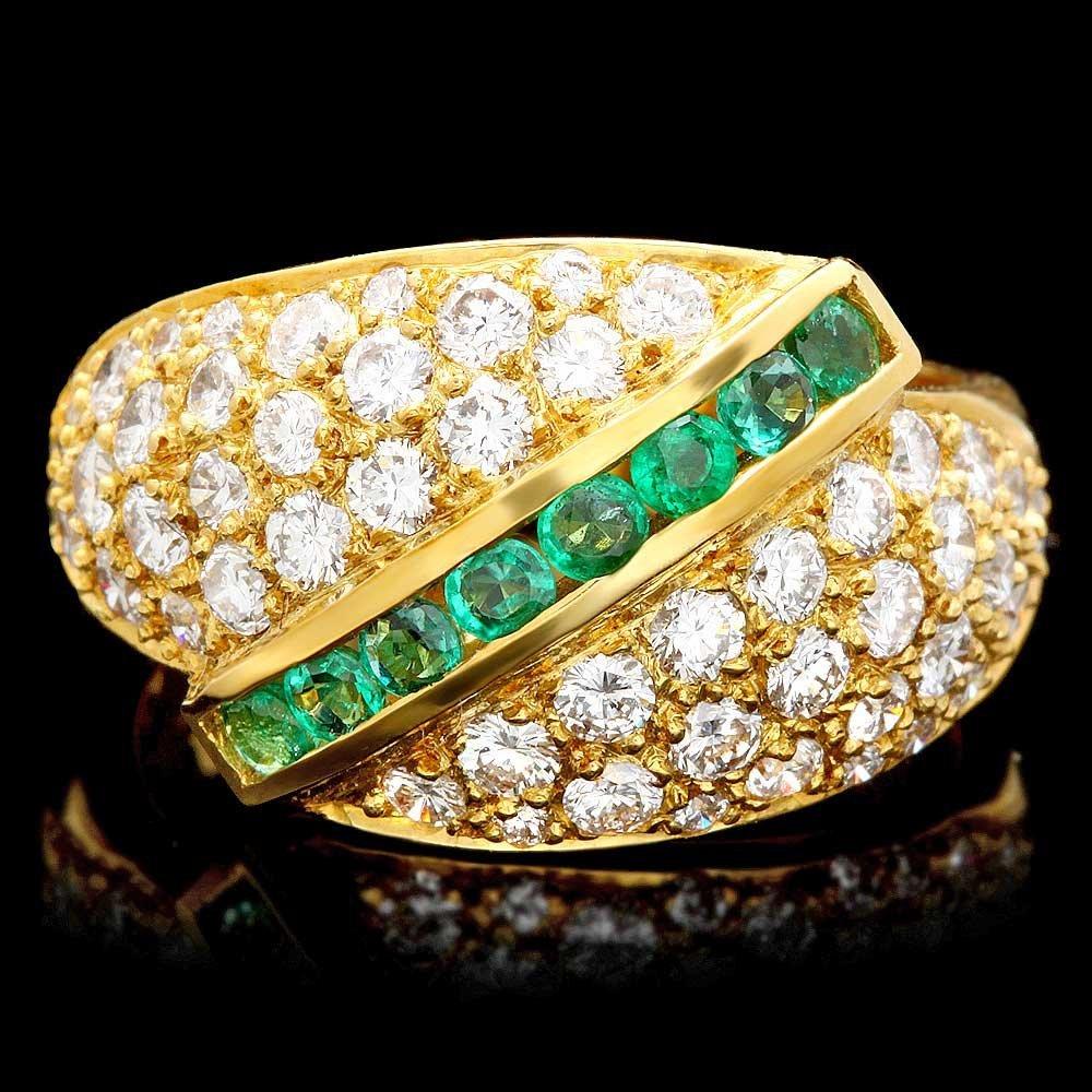 18k Gold 0.35ct Emerald 1.50ct Diamond Ring