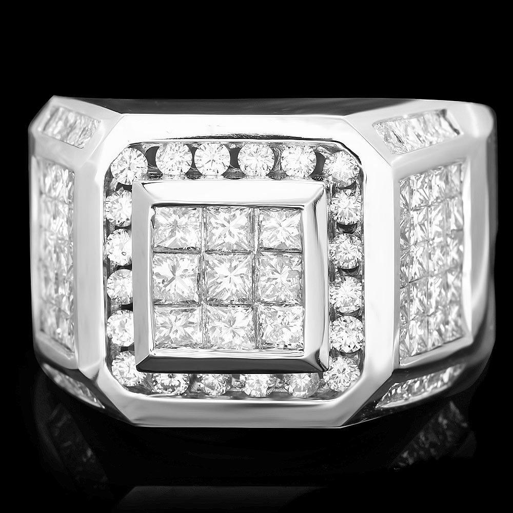 14k White Gold 5.1ct Diamond Mens Ring