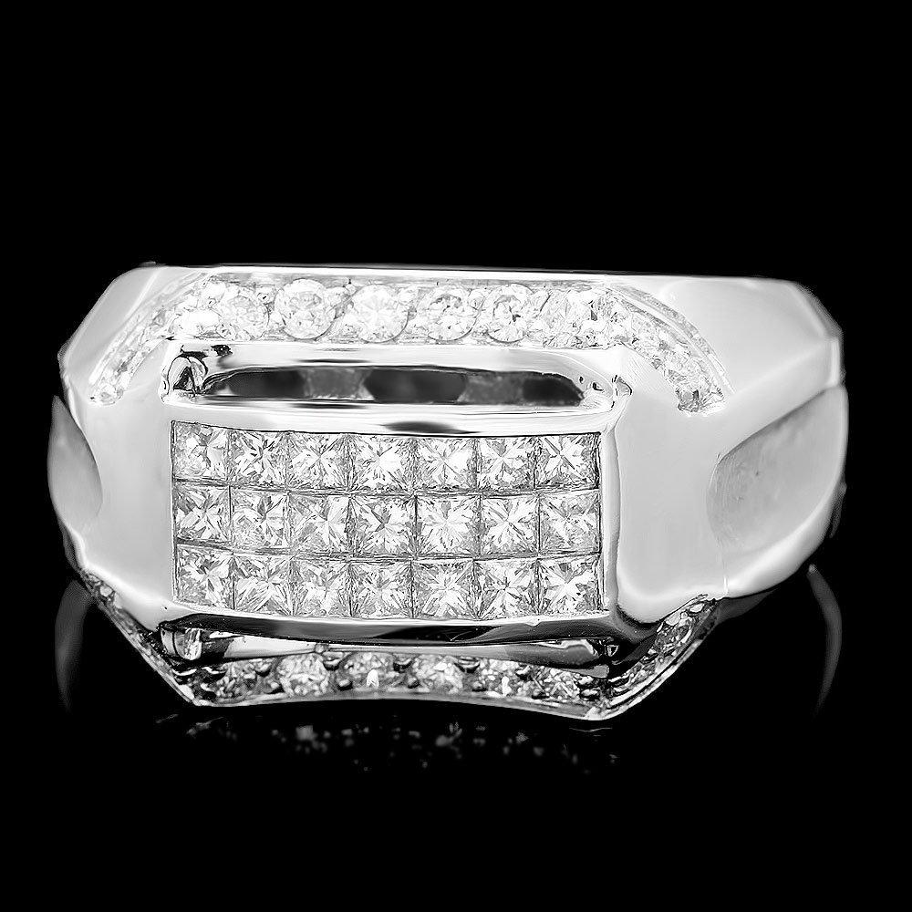 14k White Gold 1.7ct Diamond Mens Ring