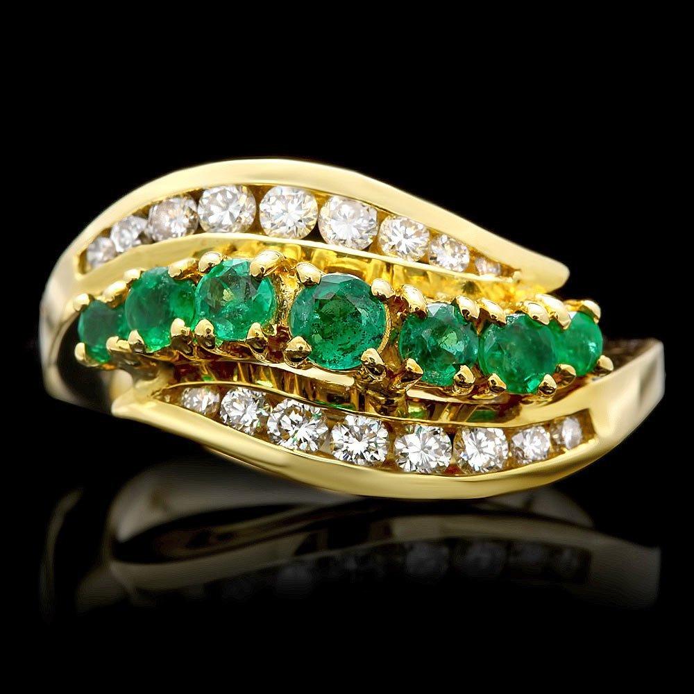 18k Gold 0.60ct Emerald 0.45ct Diamond Ring