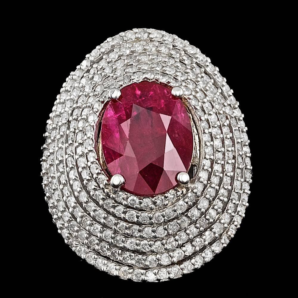 14k White Gold 4.50ct Ruby 2.35ct Diamond Ring