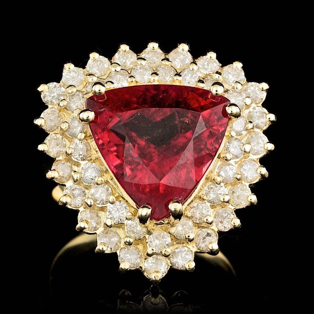 14k Gold 5.50ct Tourmaline 1.85ct Diamond Ring