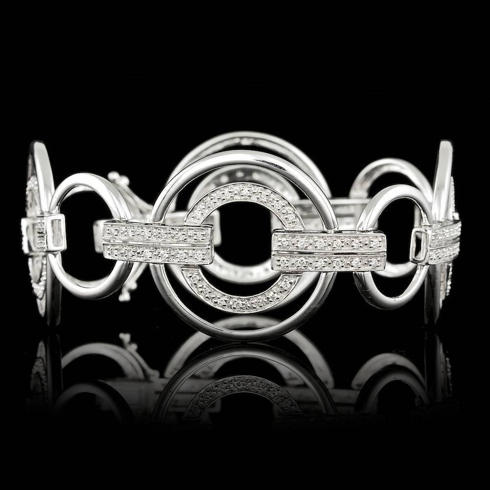 14k White Gold 1.00ct Diamond Bracelet