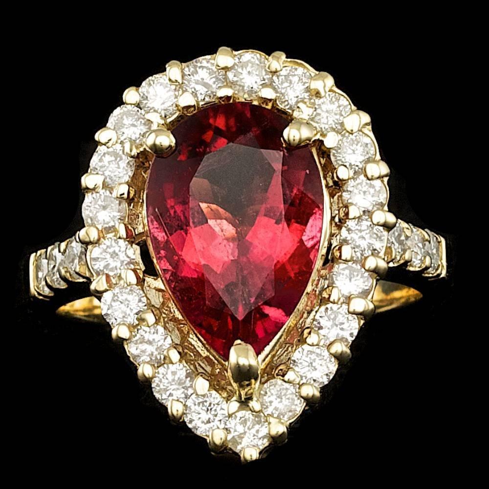 14k Gold 4.00ct Rubellite 1.30ct Diamond Ring