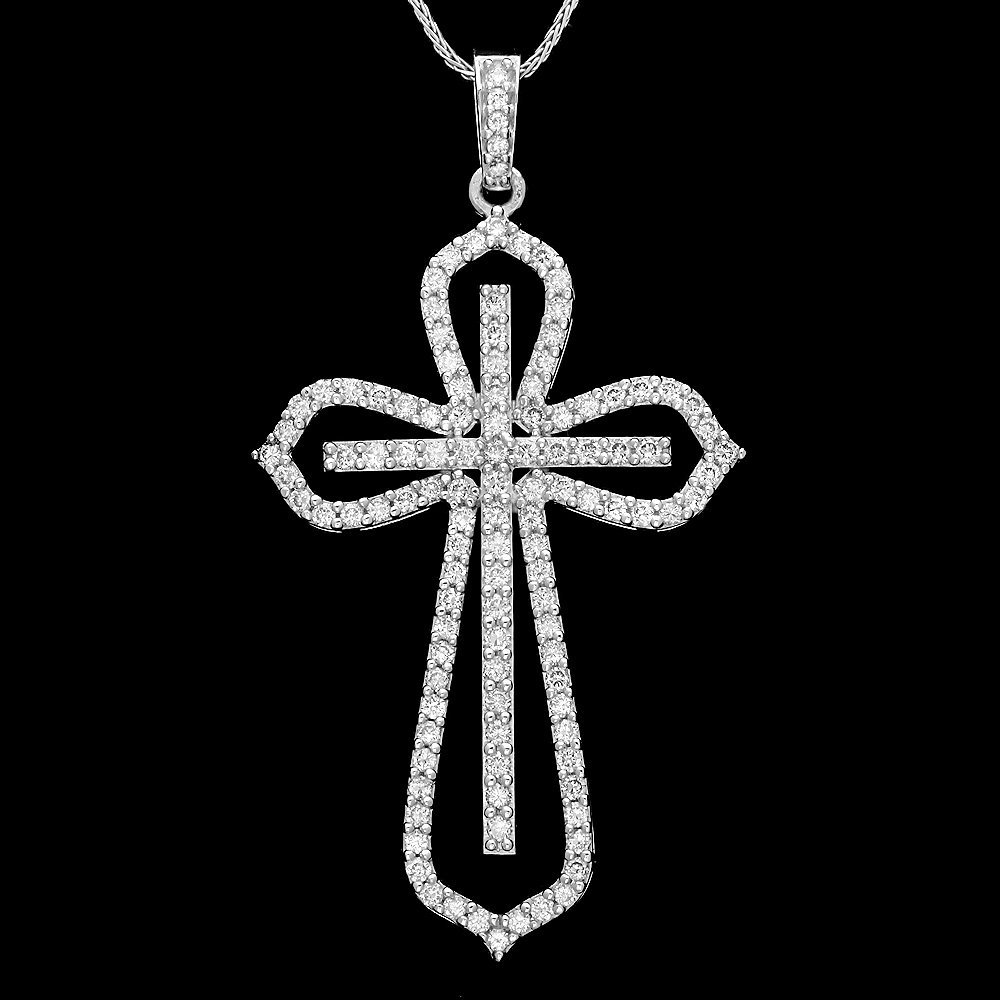 14k White Gold 1.30ct Diamond Pendant