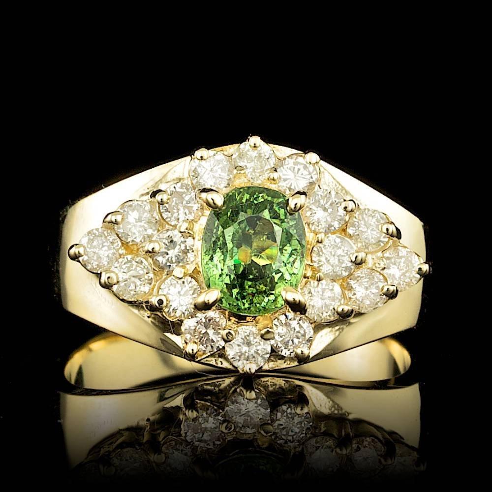 14k Yellow Gold 1.00ct Garnet 0.75ct Diamond Ring