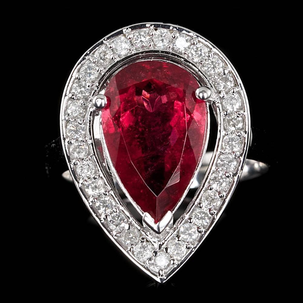 14k Gold 4.50ct Rubellite 0.60ct Diamond Ring