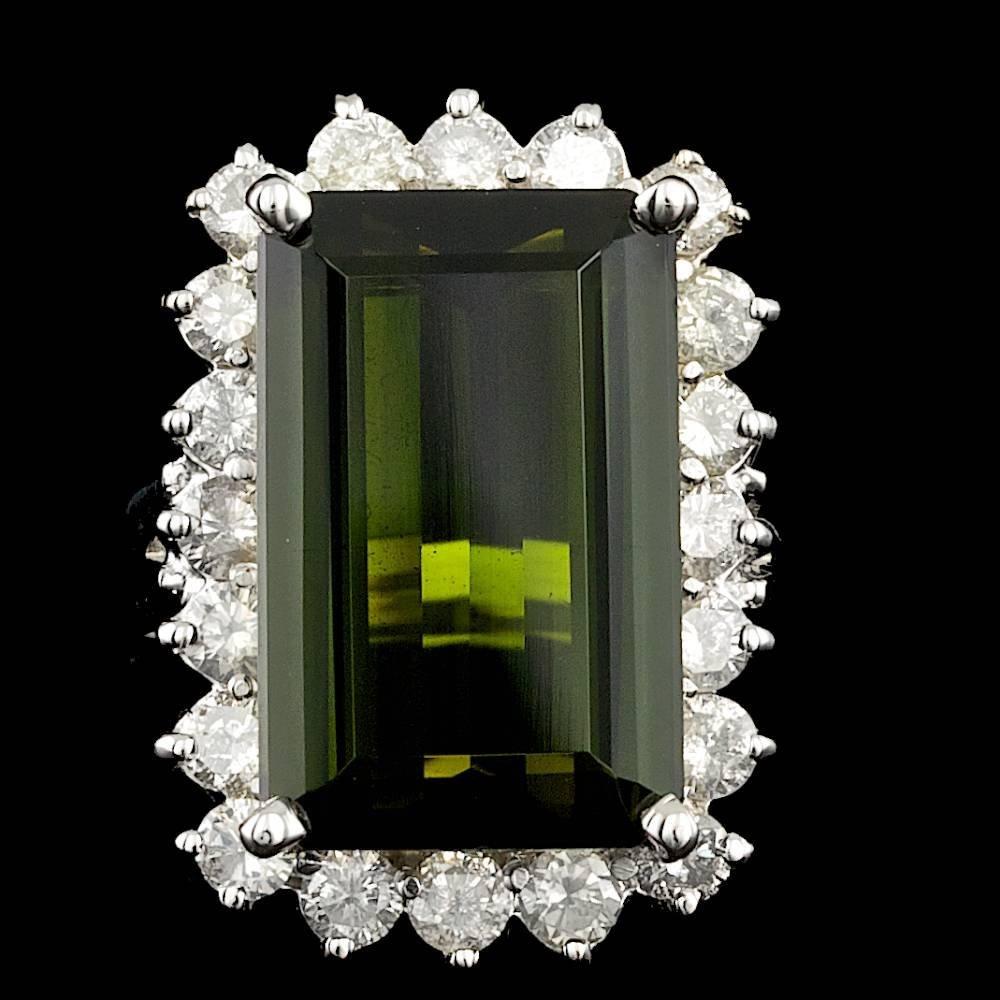 14k Gold 12.00ct Tourmaline 1.80ct Diamond Ring