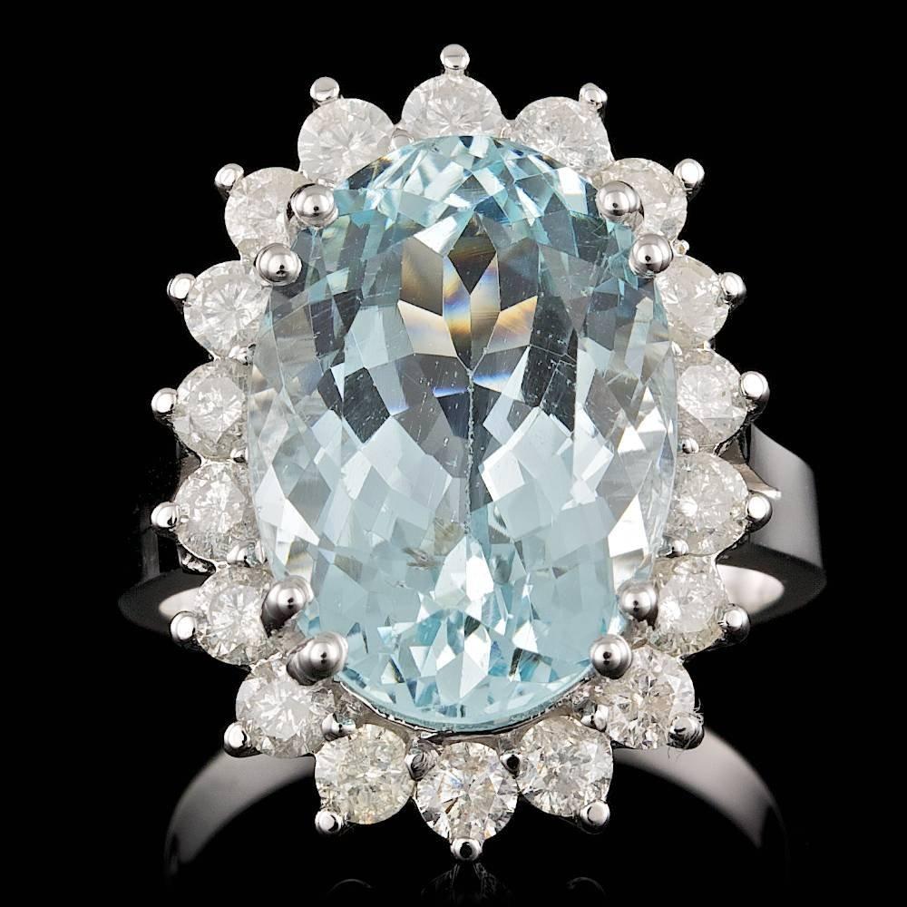 14k Gold 10.00ct Aquamarine 1.45ct Diamond Ring