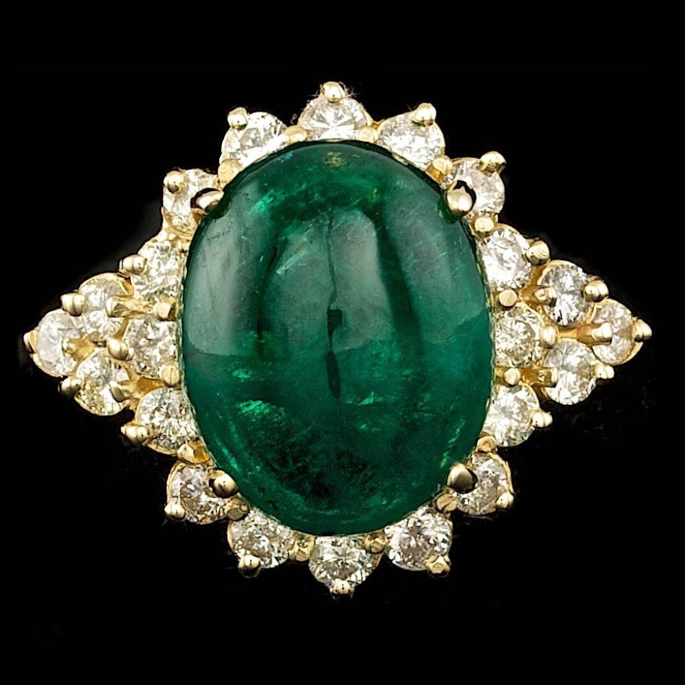 14k Gold 12.50ct Emerald 1.50ct Diamond Ring