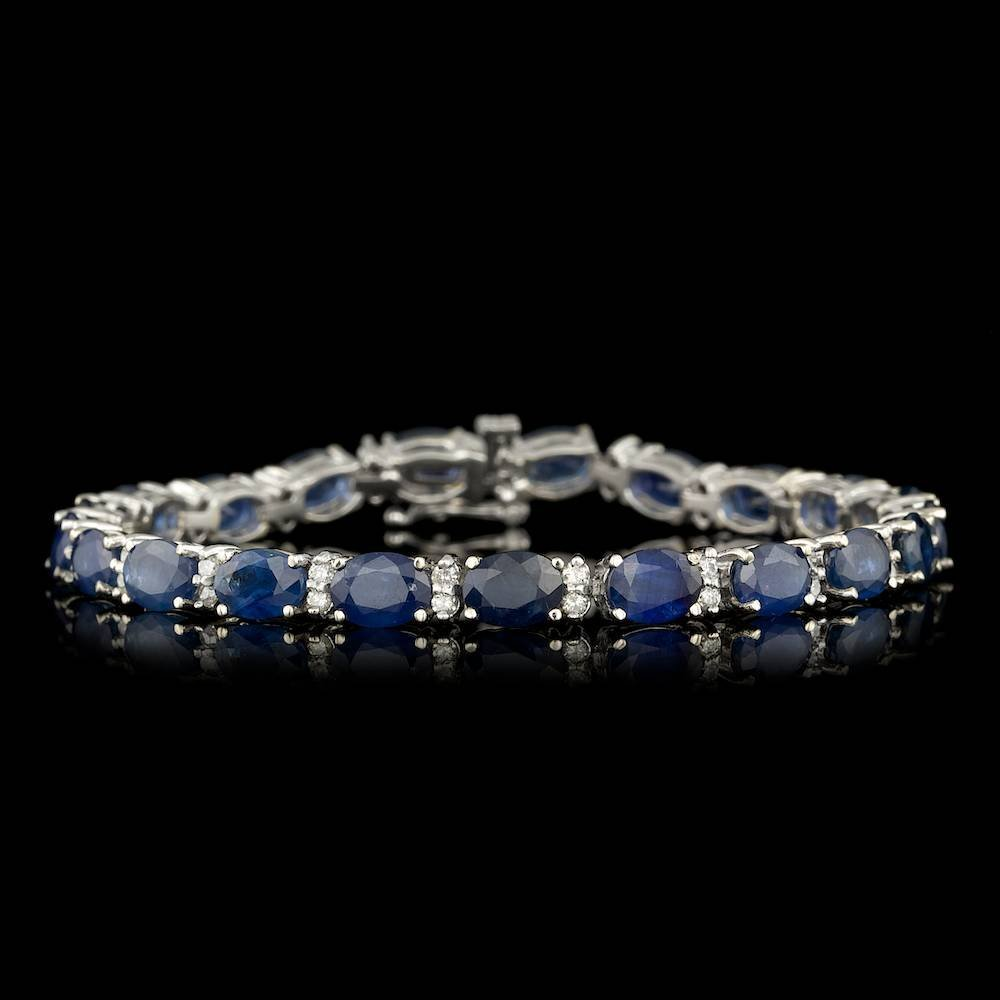 14k Gold 20.00ct Sapphire 1.25ct Diamond Bracelet