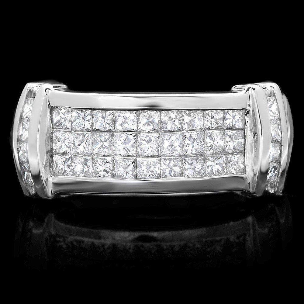 18k White Gold 2.00ct Diamond Mens Ring