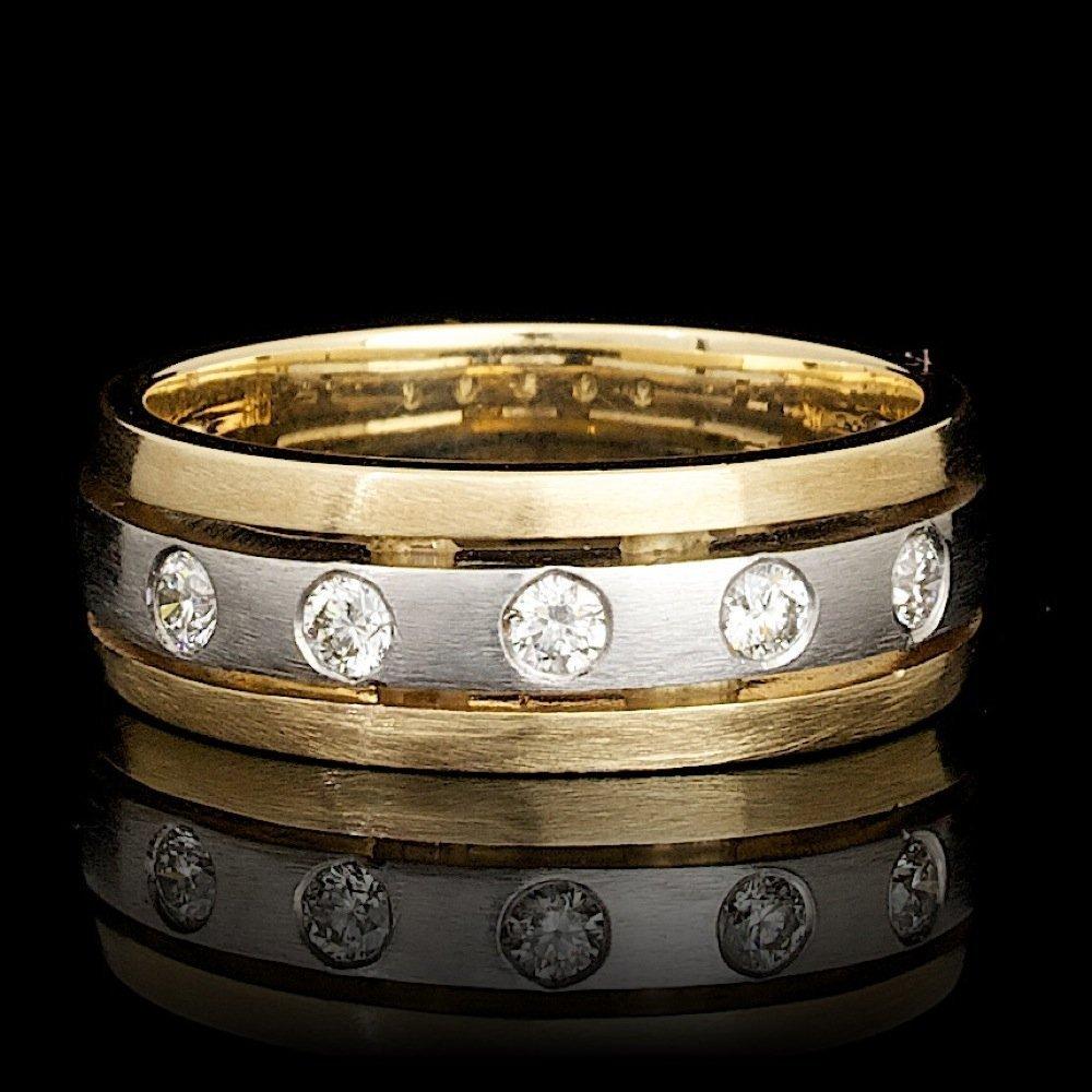 14k Multi-Tone Gold 0.36ct Diamond Mens Ring