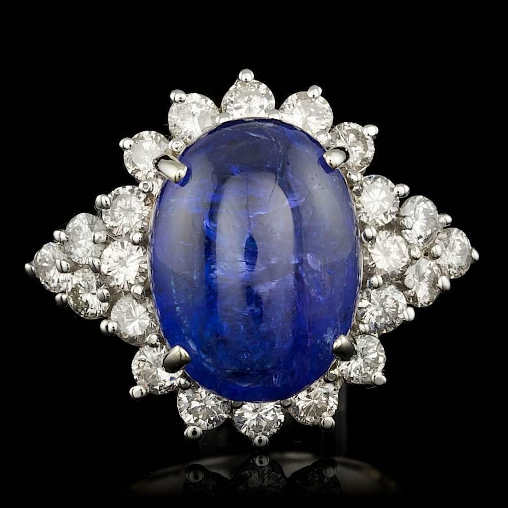 14k Gold 12.70ct Tanzanite 2.00ct Diamond Ring