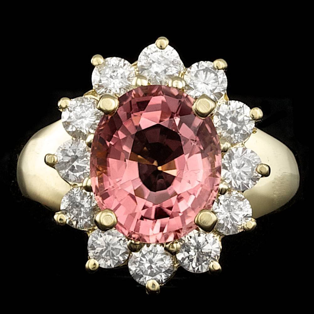14k Gold 4.00ct Tourmaline 1.30ct Diamond Ring