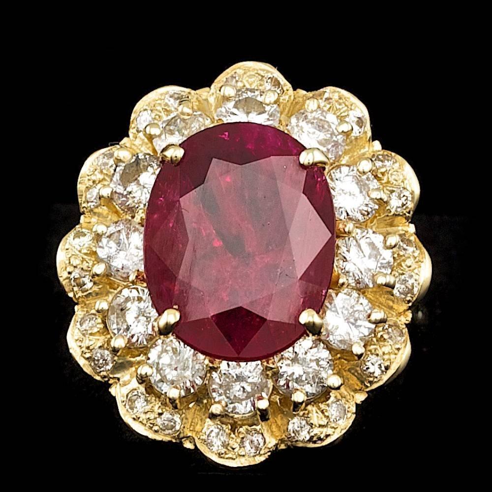 14k Yellow Gold 7.00ct Ruby 2.15ct Diamond Ring
