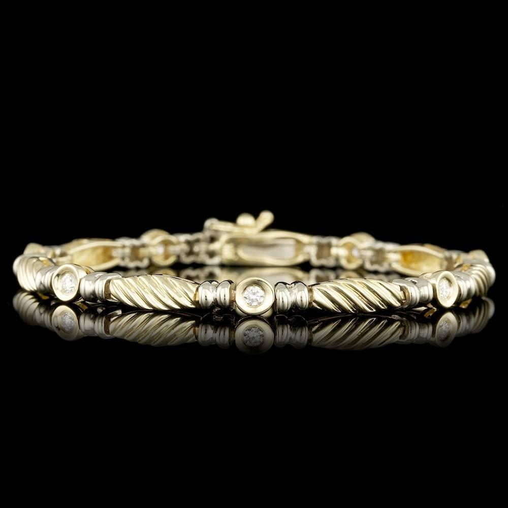 14k Multi-Tone Gold 0.40ct Diamond Bracelet