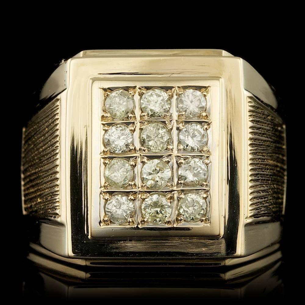 14k Yellow Gold 0.75ct Diamond Mens Ring