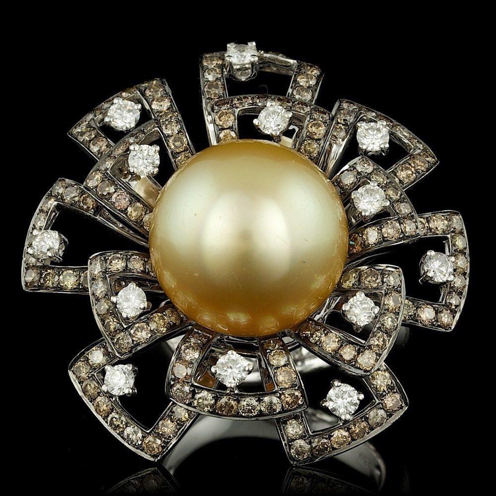 18k White Gold 14mm Pearl 2.8ct Diamond Ring