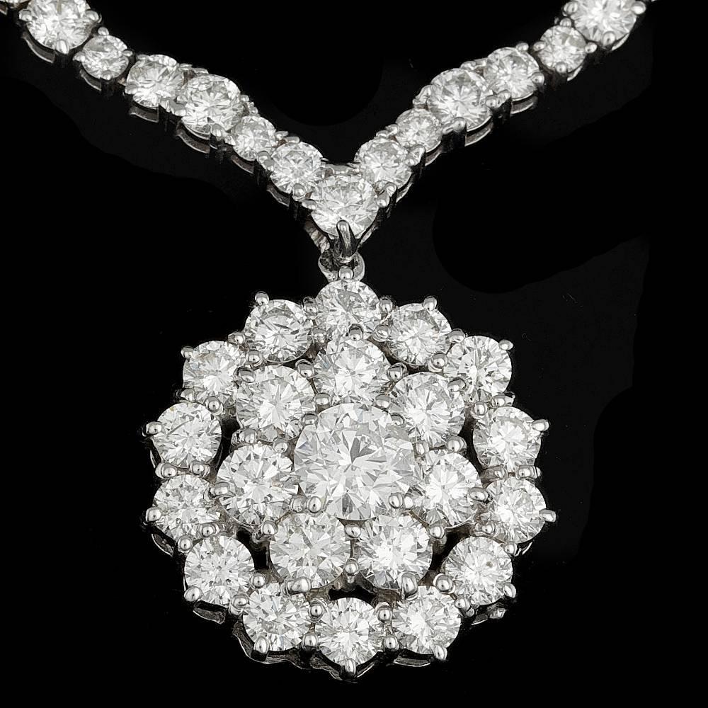 14k White Gold 17.4ct Diamond Necklace