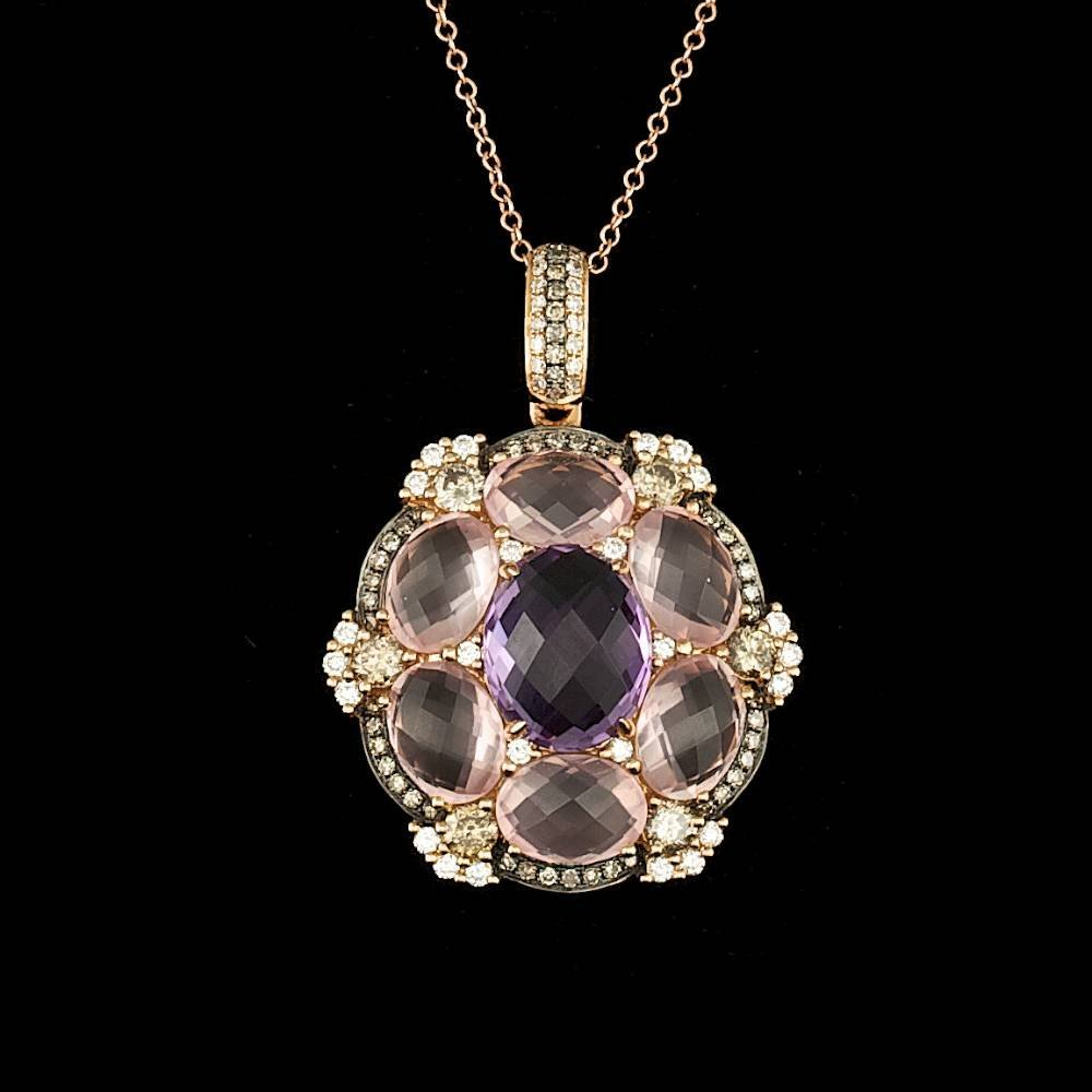 18k Rose 3.00ct Amethyst 1.15ct Diamond Pendant