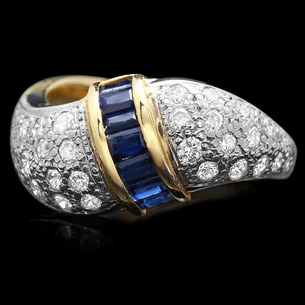 14k Gold 0.33ct Sapphire 0.85ct Diamond Ring