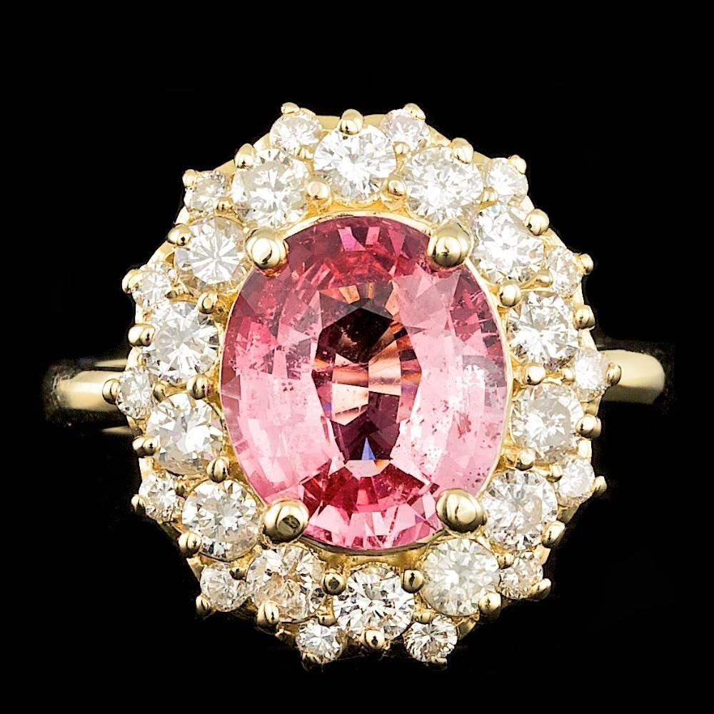 14k Yellow Gold 3.50ct Spinel 1.20ct Diamond Ring
