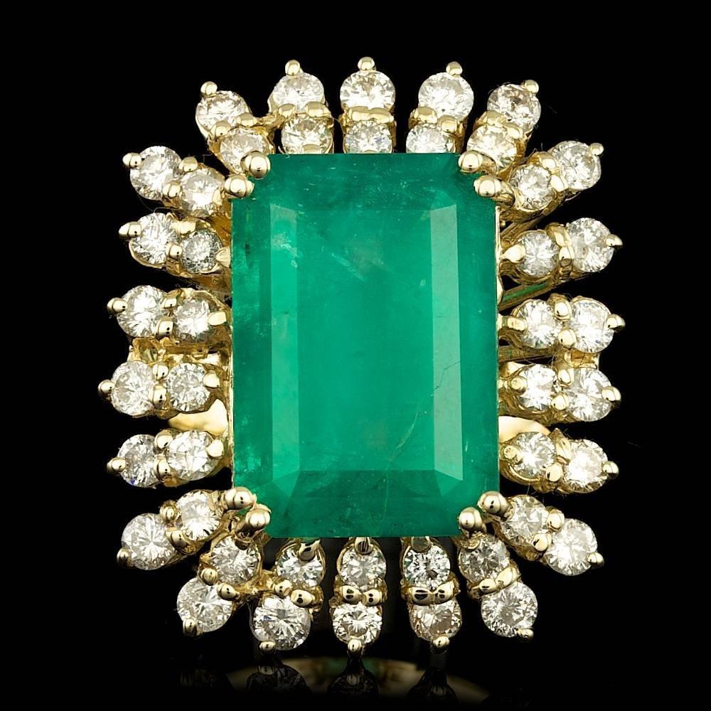 14k Gold 10.65ct Emerald 2.00ct Diamond Ring
