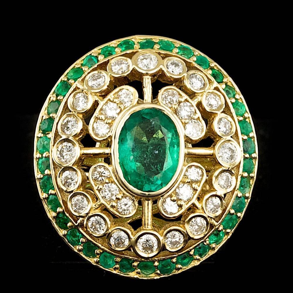 14k Gold 2.25ct Emerald 0.85ct Diamond Ring