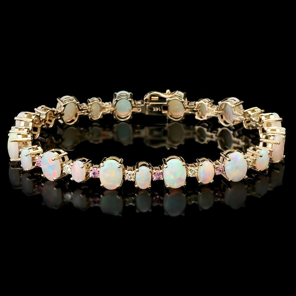 14k Gold 12.50ct Opal 0.85ct Diamond Bracelet