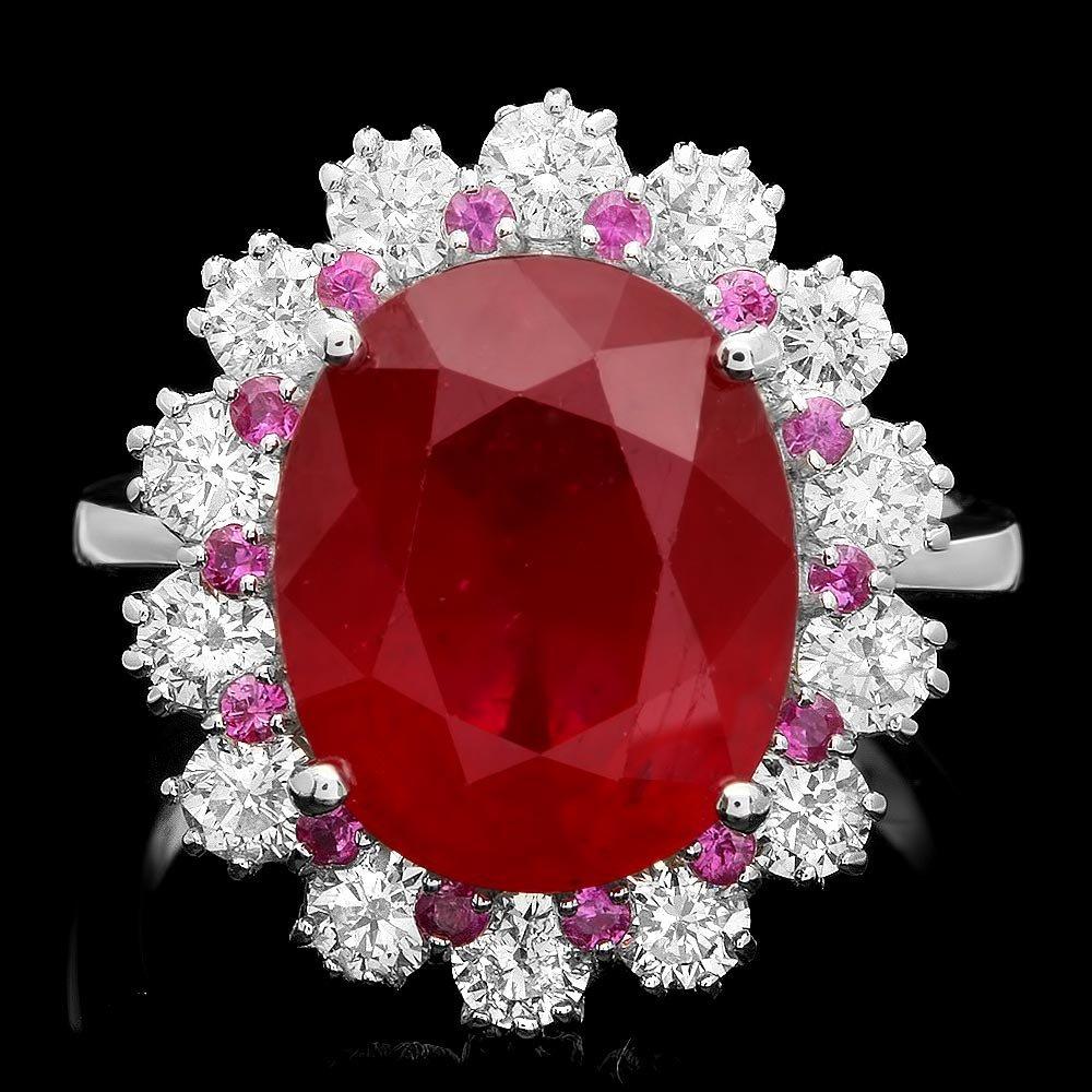 14k White Gold 8.14ct Ruby 1.25ct Diamond Ring