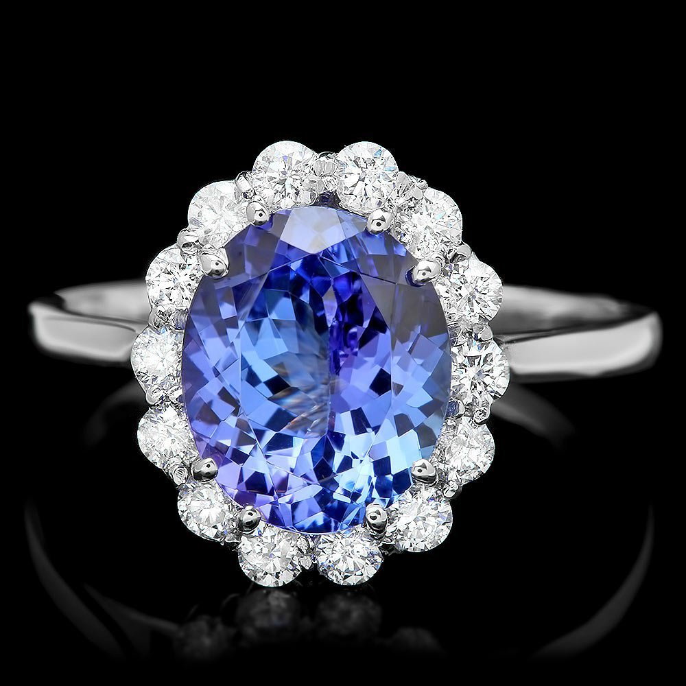 14k Gold 2.70ct Tanzanite 0.50ct Diamond Ring