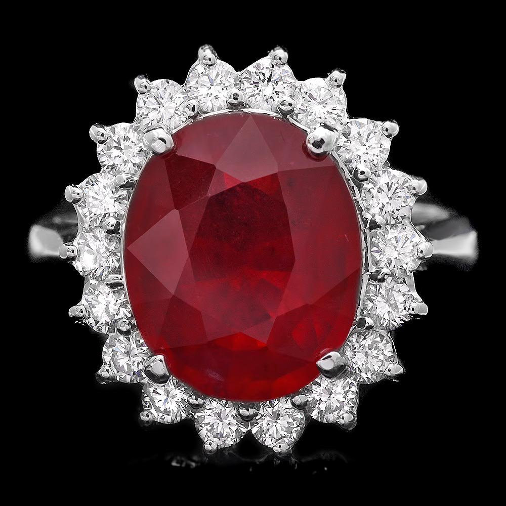 14k White Gold 6.00ct Ruby 0.80ct Diamond Ring