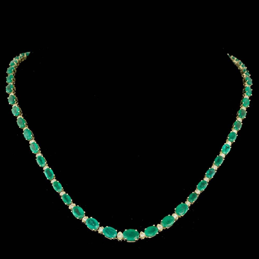 14k Gold 30.00ct Emerald 1.50ct Diamond Necklace