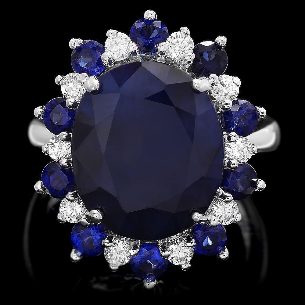 14k Gold 10.35ct Sapphire 0.45ct Diamond Ring