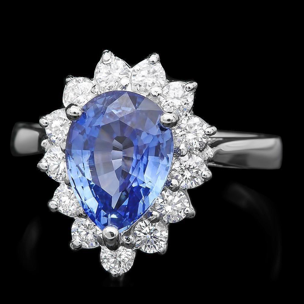 18k Gold 2.50ct Sapphire 0.70ct Diamond Ring